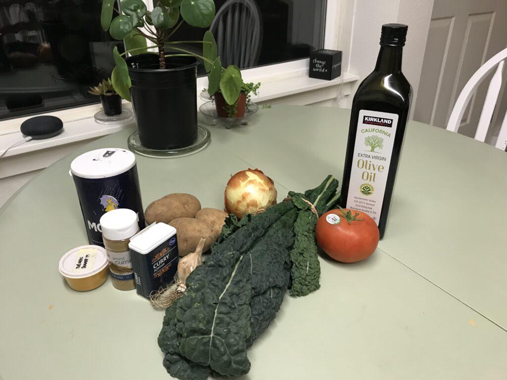 Potato curry ingredients