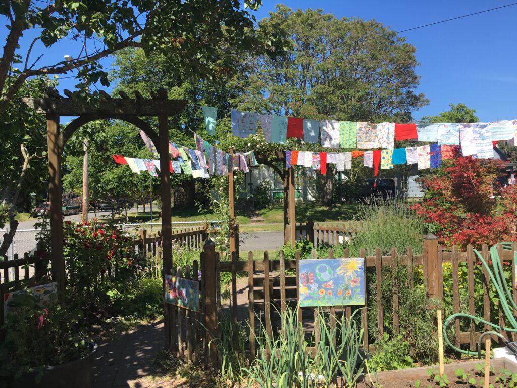 A small memorial garden in the sun.