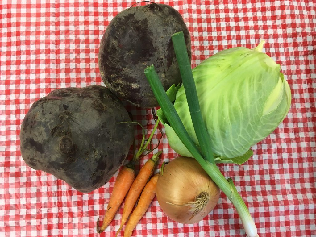 Beets, cabbage, carrots and onion