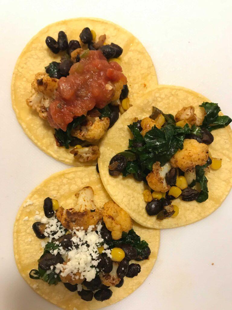 Three cauliflower tacos