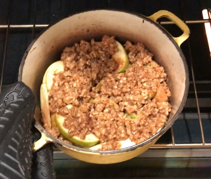 bird's eye view of apple crumble coming out of the oven