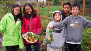 camp kiddos harvesting snack ingredients from the garden