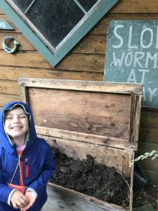 camp kiddo with worm bin
