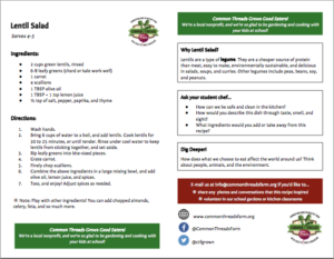 Lentil Salad recipe card, English