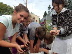 Fourth graders prepare a bed for planting by spreading compost